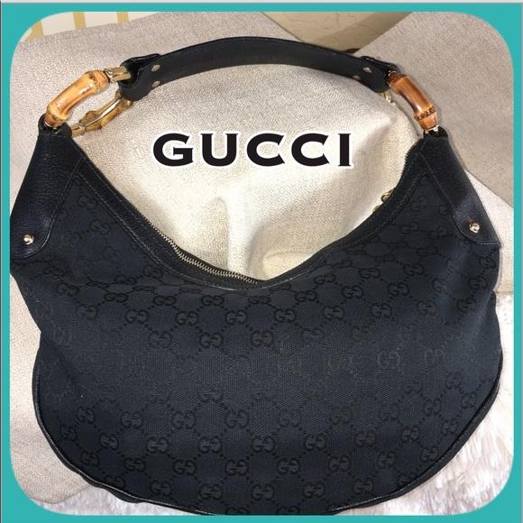 57d29b06 Gucci Bags | Black Canvas Logo Handbag With Bamboo | Poshmark